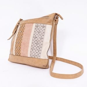 Women's tan rhinestones crossbody bag